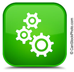 Gears icon special green square button