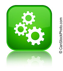 Gears icon special green square button