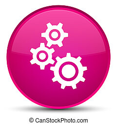 Gears icon special pink round button
