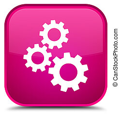 Gears icon special pink square button