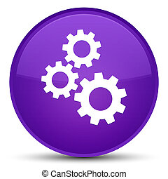 Gears icon special purple round button