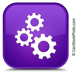 Gears icon special purple square button