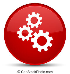 Gears icon special red round button