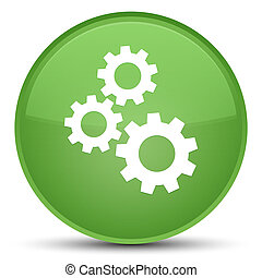 Gears icon special soft green round button