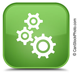 Gears icon special soft green square button