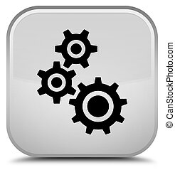 Gears icon special white square button