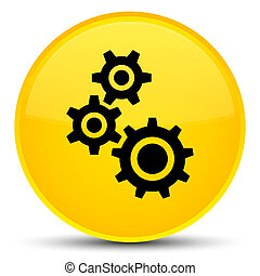 Gears icon special yellow round button