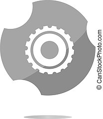 gears icon web button isolated on a white background