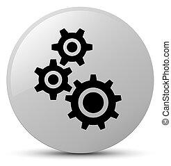 Gears icon white round button