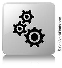 Gears icon white square button