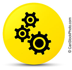 Gears icon yellow round button