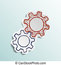 gears., icono, mecánico