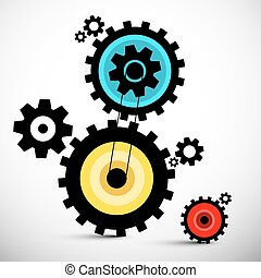 Gears Illustration. Colorful Vector Cogs.