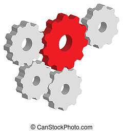 Gears - Illustration of gears, as the rotating mechanical...