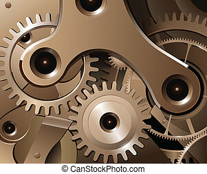 Gears and cogwheels from watch mechanism, vector background.
