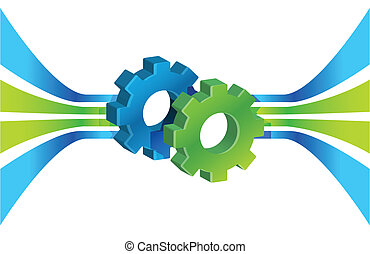 Gears in motion and lines, business process concept illustration