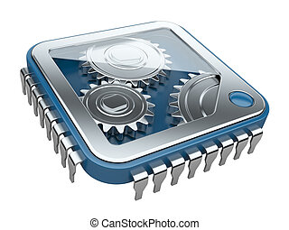 Gears inside processor isolated on a white background.