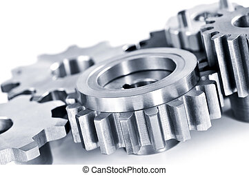 Gears - Interlocking industrial metal gears isolated on ...