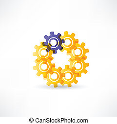 Gears into circle icon