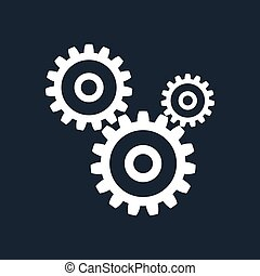 Gears Isolated on Black Background, Teamwork, Joint Effort,...
