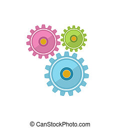 Gears Isolated on White Background, Teamwork, Joint Effort
