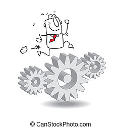 Gears - Joe the businessman is running on gears. It's a ...