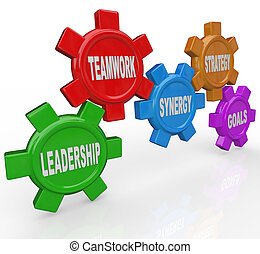 Gears - Leadership Teamwork Synergy Strategy Goals - Five...