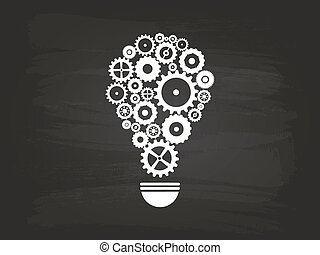 Gears Light Bulb Idea Concept On Blackboard