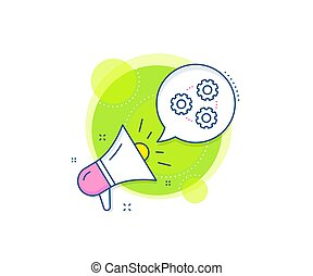 Gears line icon. Teamwork cogwheel sign. Working process. Vector