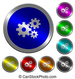 Gears luminous coin-like round color buttons