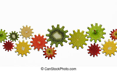 Gears made of fruit slices on white background