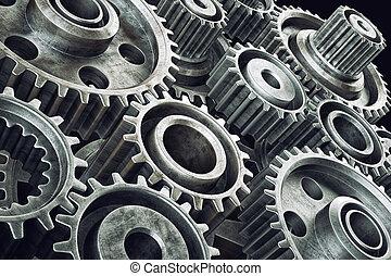 Gears mechanism - Cog gears mechanism closeup. Engineering...
