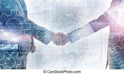 Gears mechanism, digital transformation, data integration and digital technology concept
