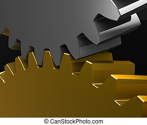 Gears Mesh - Mesh of Two Gears Isolated on the Black...