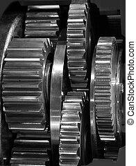 Gears - Metal gears group complex industrial mechanism