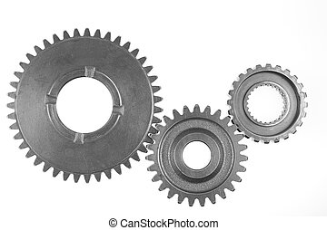 Gears - Metal gears on plain background