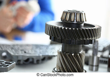 Gears of bearings and solenoids in the repair shop of cars