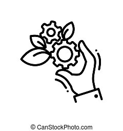 Gears of life - modern vector single line icon. A hand...