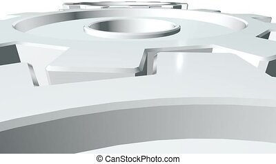 Gears of white color rotate . White background. Alpha...