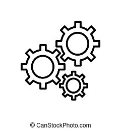 Gears on a white background. Vector illustration. Flat contour icon. Eps 10