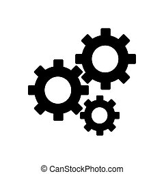 Gears on a white background. Vector illustration. Flat solid icon. Eps 10