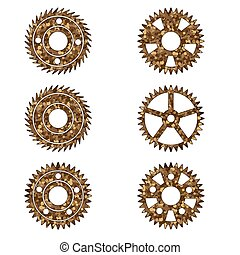 Gears on a white isolated background. Vector image