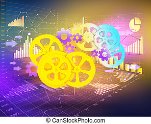 gears on an abstract background business graph.