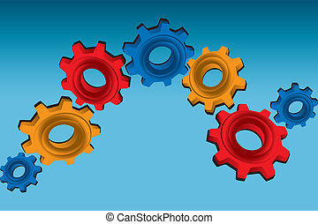 Gears on blue background