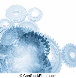 Gears on plain background. Copy space