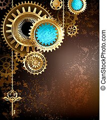 gears on rusty background - gold and brass gears with a gold...