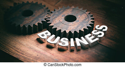 Gears on wooden background. 3d illustration