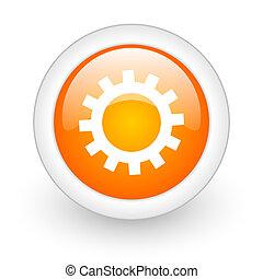 gears orange glossy web icon on white background