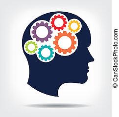 gears., pensando, cabeça, abstração