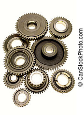 Gears - Assorted metal gears on white